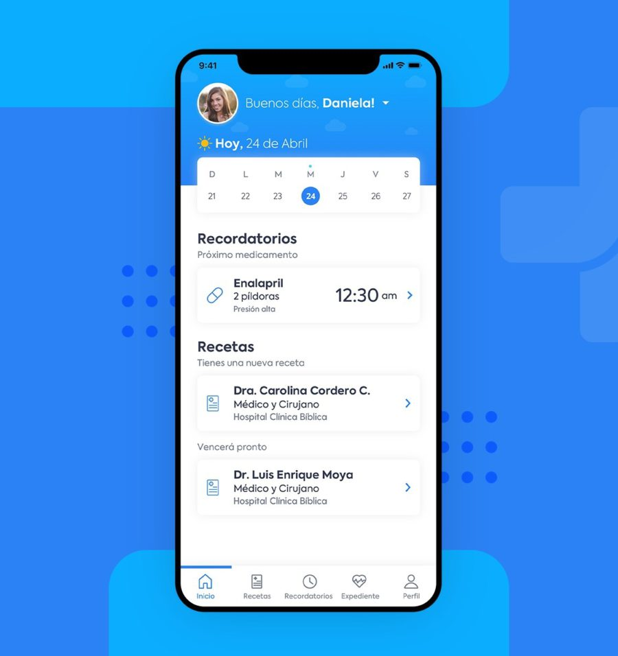 Estrategia de diseño UX y UI para pantalla de inicio de la aplicación médico digital