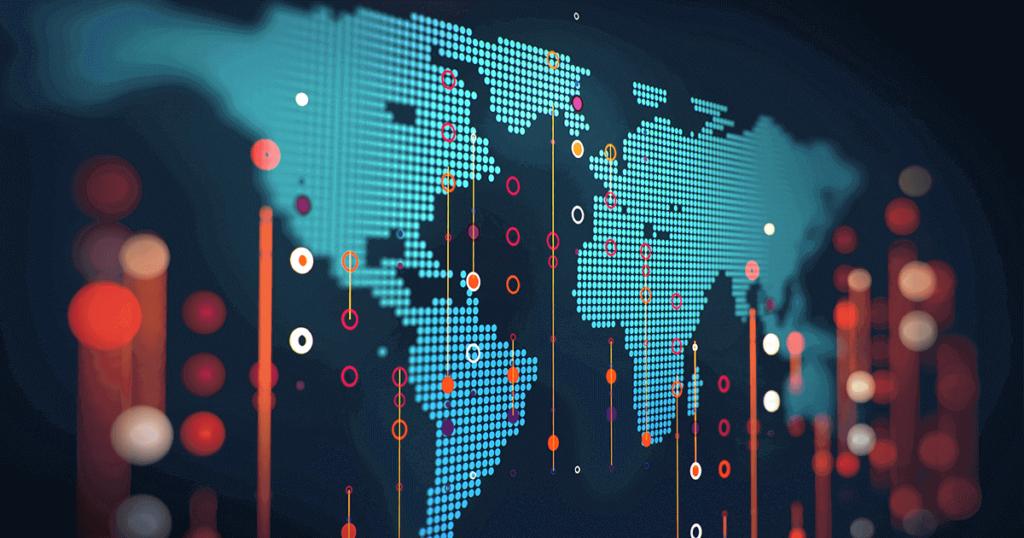 Mapa del mundo representado por un gráfico tecnológico