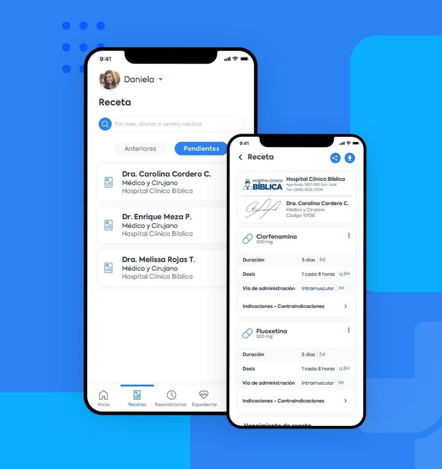 Interfaz de usuario para pantalla con receta médica digital