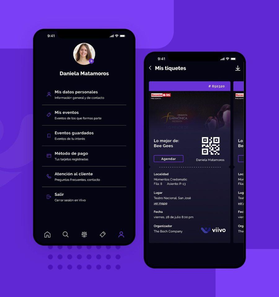 Desarrollo de software para pantalla de perfil y etiquete de evento